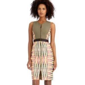 RACHEL Rachel Roy Dresses - Rachel Roy Olive Green Tribal Zip Front Dress